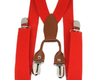 Adjustable 1 Inch Wide Elastic Red Suspenders Toddler Boys 2T 3T 7-14 Years