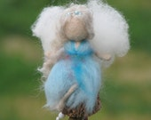 Needle felted Waldorf inspired Mobile Ornament Little magic fairy blue