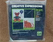 Vintage Creative Expressions Just Pals Bear Cat Plastic Canvas Needlework Kit 5024