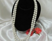 Vintage Two Strand White Faux Pearl Bead Necklace Costume Jewelry