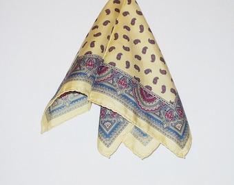 Vintage Scarf Paisley Print All Silk Hand Rolled Italy  Retro Fashion Head Neck Purse Kerchief Scarf Accessory