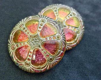 Czech Glass Button Fortuna Copper Pink Amber Vitrail Silver