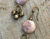 Peach Moonstone and Brass Tibetan Bell Earrings, Moonstone Jewelry