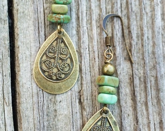 Boho Jewelry, Boho Brass Sangle Earrings with Green Turquoise