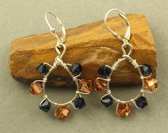 Indigo Blue and Topaz Swarovski Crystal Earrings