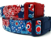 Red White and Blue Floral Dog Collar
