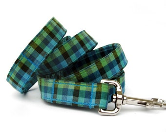 Teal and Lime Gingham Dog Leash