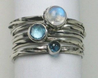Sterling Twig Rings Blue Topaz Silver Stacking Rings Moonstone London Blue Topaz Gemstone Stacking 5 Ring Set