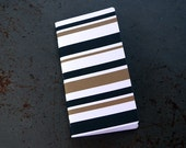 Flat Gold Black and White Stripe Design Blank Journal - Fits Midori Travel Journal Notebook
