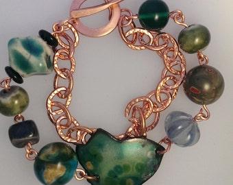 Raku, Enamel and Copper Bracelet #10