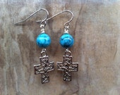 CROSS Earrings Lovely Ornate Antique Style with Pretty Turquoise Colored Bead Easter Birthday Women Teen Girl Feminine Jewelry