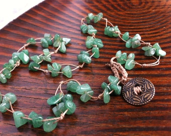 ELEGANT Classic Shades of Green Jade Nuggets Knotted Necklace Button Closure Drapes Beautifully Stack with other Jewelry Gorgeous