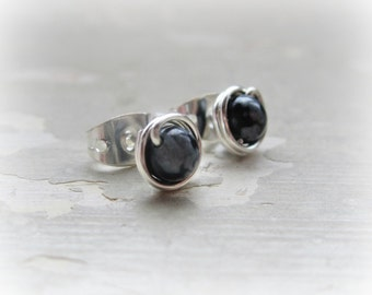 Sterling Silver Post Earrings, Wire Wrapped Posts, Snowflake Obsidian Stud Earrings,Natural Stone Studs, Wire Wrap Studs,Black Stud Earrings