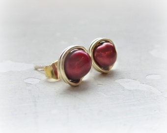 Cranberry Pearl Stud Earrings, Gold Filled Studs, Freshwater Pearl Post Earrings, Wire Wrapped Posts,Red Post Earrings, Cranberry Red Post