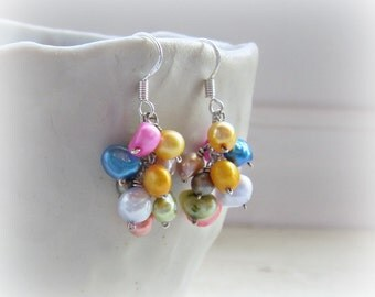 Freshwater Pearl Cascade Earrings, Mixed Pearl Earrings, Short Dangle Earrings, Colorful Earrings, Cluster Pearl Earrings, June Birthstone