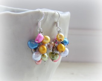 Freshwater Pearl Cascade Earrings, Mixed Pearl Earrings, Short Dangle Earrings, Colorful Earrings, Cluster Pearl Earrings, June Birthstone