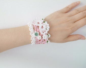 Irish Crochet Lace Jewelry (Butterfly 2-a) Crochet Bracelet, Fiber Jewelry,Wide Bracelet