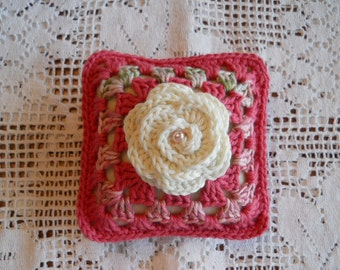 Pincushion or Sachet Pillow in Rose Color with Cream Rose Flower in the Center
