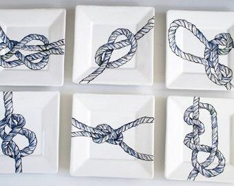 Nautical Knot Plates Set of 6 - Rope Dish Set - Ceramic - Hand painted