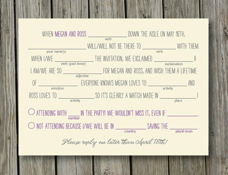 Summer Camp Rustic Wedding Mad Lib RSVP Reply Card