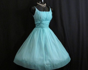 SALE Vintage 1950's 50s Turquoise Blue Ruched CHIFFON Organza Party Prom Wedding Dress Medium Size