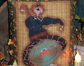 Patti's Ratties Primitive Halloween Witch Cat Pillow Ornie Pattern #356