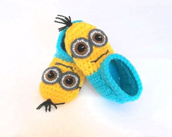 Baby Shoes, Baby Home Slippers, Minions, Gender Neutral, Crochet Booties, Soft Sole Shoes, Baby Shower