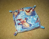 Quilted Set of 4 Winter Holiday Snowman Coasters with Holder
