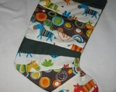Quilted Childs Christmas Stocking - animals and dots