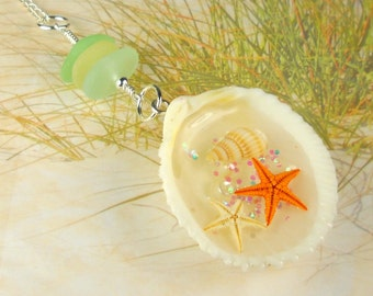 GENUINE Sea Glass Necklace Beach Jewelry Shell Pendant