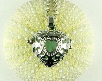 Heart Locket Necklace GENUINE Aqua Sea Glass Jewelry Beach Jewelry On Long Chain