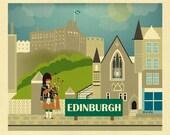 Edinburgh Skyline Print, Edinburgh Wall Art, Edinburgh, Scotland Travel Print, Edinburgh Baby Art, Scottish bagpipes, Loose Petals, E8-O-EDI