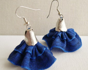 Cobalt Blue dangle earrings - Dark Blue Fluffy earrings - dancer Earrings - Bridesmaid Earrings - Wedding Earrings - Dress earrings