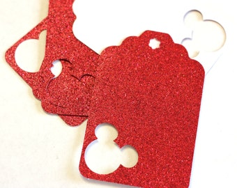 Mickey Mouse gift Tags - 5, 10, 25 Red Glitter Cardstock Gift Tags with Mickey Mouse cut outs 3 inch birthday party favor