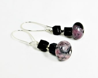 Rhodanite Rondelle Bead with Black Onyx Faceted Square Bead Earrings
