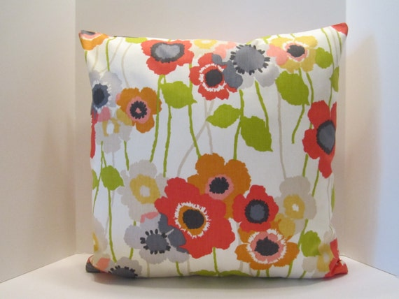 Poppy Pillow Covers Waverly Decorator Fabric Red Orange Poppies Garden Decor Design