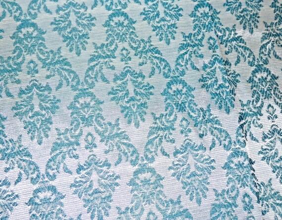 Tissu de tapisserie vintage ann es 50 60 aqua iris damas - Tissu vintage annees 50 ...