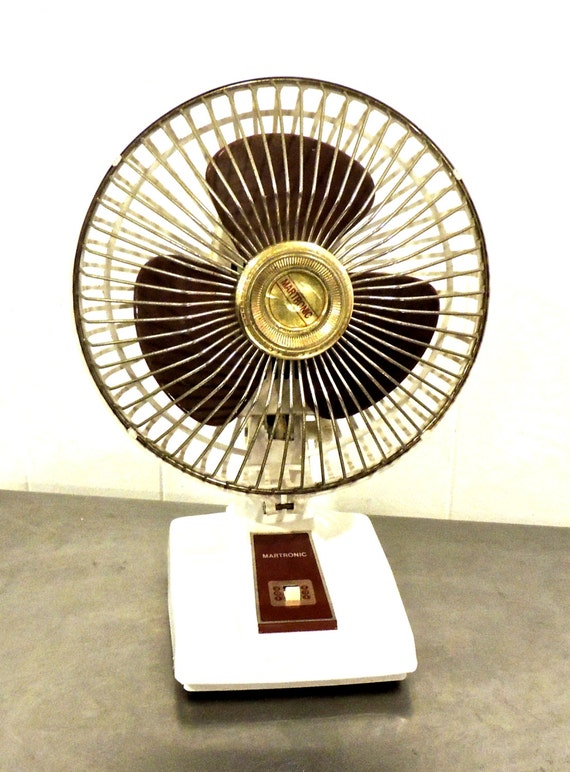 vintage desk fan - 1970s Martronic white maroon mid century fanVintage Desk Fan