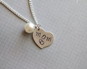 Mom Necklace, Pearl Love Mom, Mother's Day, Gift For Her, Silver Plated Chain Necklace, Heart Pendant, Mother Birthday Gift, New Mom to be