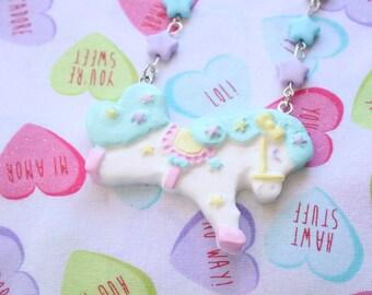 Fairy Kei Carousel Pony Necklace Baby Blue