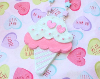 SALE Pop Kei Double Scoop Ice Cream Necklace Pastels Pink x Mint was 20.00