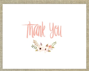 Coral Posie Thank You cards with matching envelopes; wedding thank you cards, any occasion