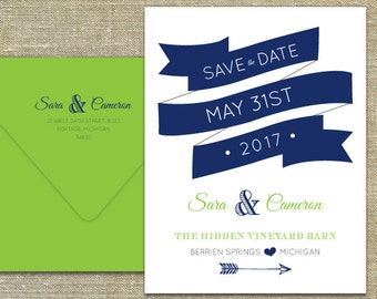Navy Ribbon Save the Date Letterpress DEPOSIT LISTING