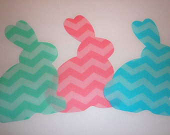 Iron On Fabric Applique 3 Chevron Stripe EASTER BUNNY Bunnies...Pastel Pink/Blue And Mint Green