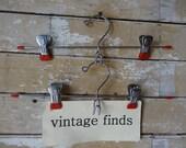 Vintage Pants or Skirt Hanger Metal Clips Red Set of 2