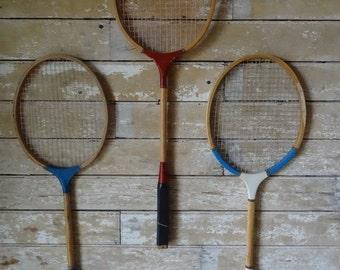 Vintage Badminton Rackets Wooden