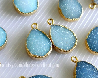 1-10 Druzy Earring charm Druzy pendant 24k Gold Plated Druzy Agate Lead-free, nickel-free Jewelry making JSP-4915