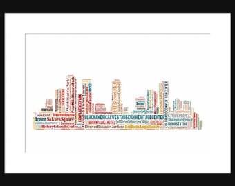 Denver Skyline  - Word Art Typography Color - Typographical Print Poster