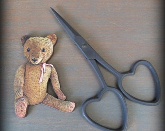 Heart Embroidery Scissors and Antique Teddy Thread Winder cheswickcompany