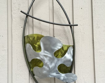 Yellow silver Modern Metal Wall Art abstract sculpture by Artist Holly Lentz